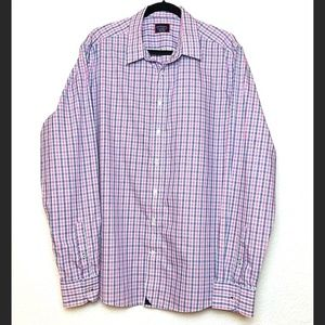 UNTUCKit Pink Blue Plaid Cotton Button Down Shirt